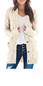 Cardigan Sweaters for Women with Two Side Pocket