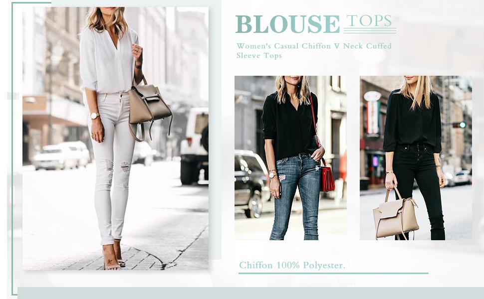 women chiffon blouses sleeveless v neck cuffed 3 4 sleeve tunics shirts casual business office work