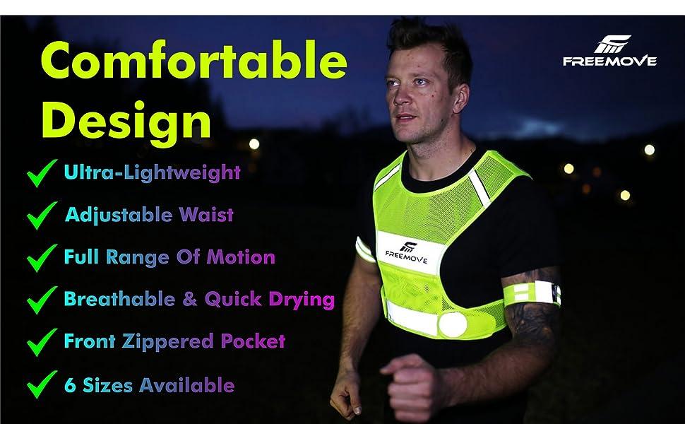 FREEMOVE reflective safety vest running vest gear dog walking hi viz vest reflective jacket no.1