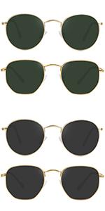 Small Round Polarized Sunglasses Women and Men Vintage Hexagon Square Sun glasses UV400 Protection