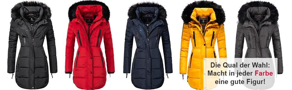 vegan hergestellt XS-XXL Marikoo Damen Winter Mantel Steppmantel Moonshine