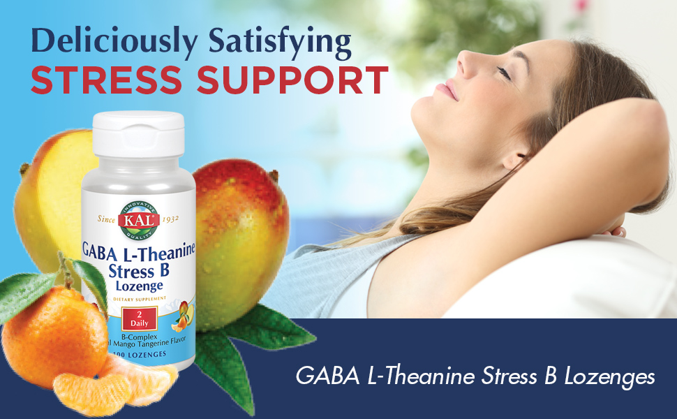 KAL GABA L-Theanine Stress B Lozenge Relaxation, Mood & Focus Natural Mango Tangerine Flavor 100ct