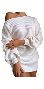 Meenew Womens Wrap V Neck Sweater Dress Tie Waist Long Sleeve Mini Swing Dress