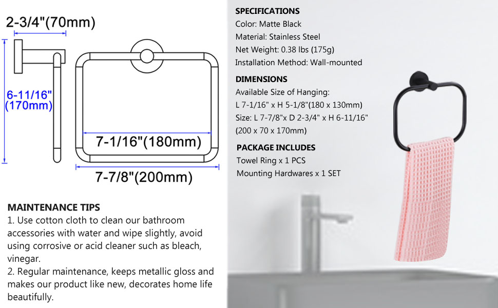 Hand Towel Ring  Specification