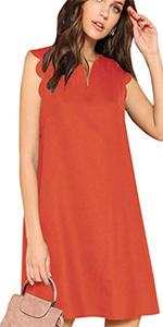 Scallop Trim Sleeveless Tunic Short Dress