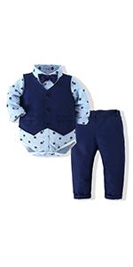 Baby Boys Gentleman Bowtie Blue Suits Set Long Sleeve +Vest+Pants