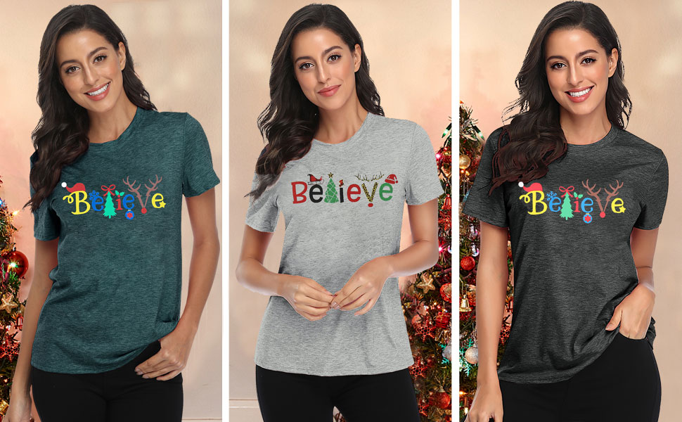 Believe Women Christmas Tree Cute Shirt