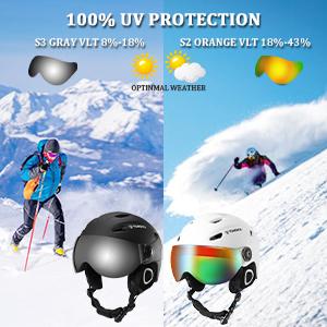 TOMSHOO Ski Snowboard Skateboard Helmet Anti-Fog Anti-UV Adjustable Windproof Warm Detachable Liner Certified Safety Professional Snow winter Sports Helmet Earmuff Integrated Goggles Shield Lightweight for Adults Men Women Youth