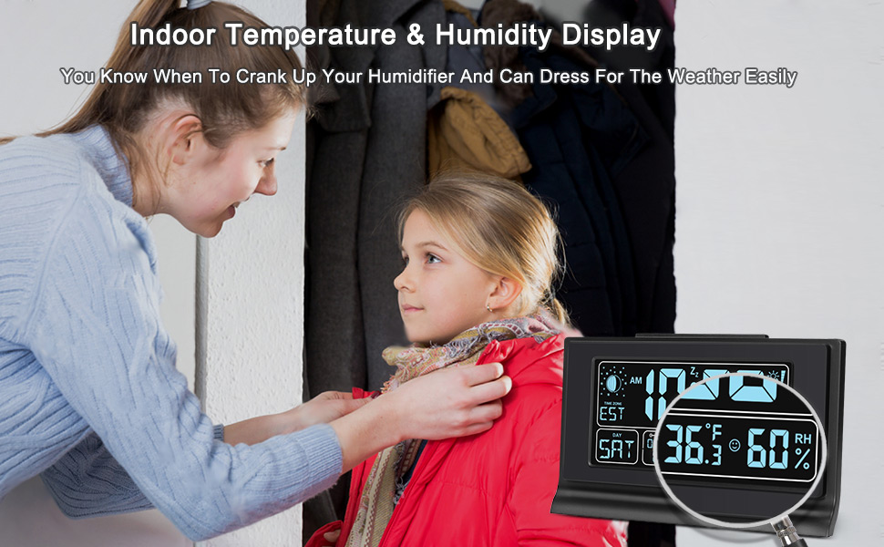 electronic alarm clock with temperature and humidity