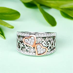 JEULIA 1Carat Rose Gold Plated Wedding Band promise wedding rings 925 silver heart wedding rings