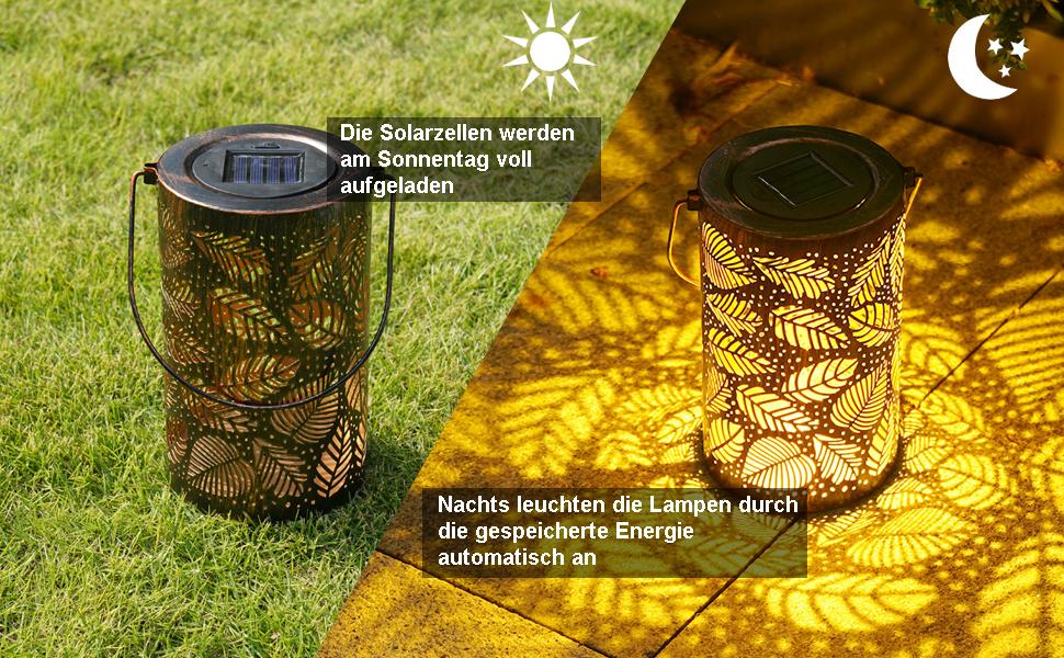 Wei/ß1 Solar Laterne Terrasse,Veranda IP65 Wasserdicht Rasen Infankey Gehweg Hof Solarlampen f/ür Au/ßen H/ängend f/ür Garten Solarlaterne f/ür au/ßen