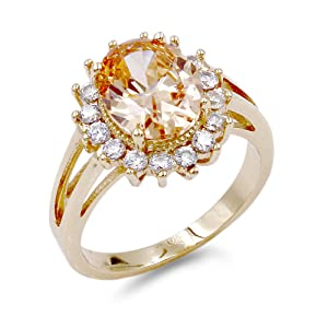 Lavencious Oval Shaped Gold Plated w.CZ  Party Rings in Topaz