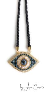 Evil Eye Pendant Necklace Sliding Adjustable Black Versatile Cord