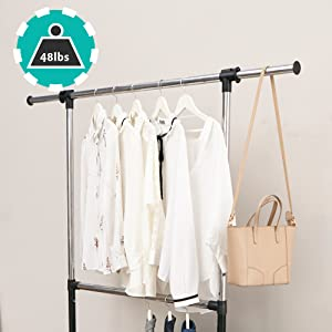 ikloo 2-Tier Steel Durable Collapsible Clothing Rack, Height Adjustable Sleek Organizer on Wheels