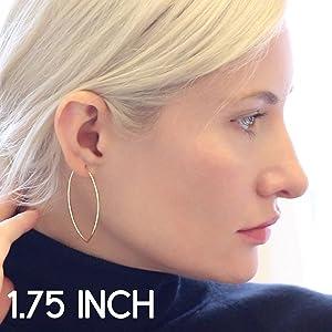 Marquise Threader Big Hoop Earrings Lightweight Oval Leaf Statement Drop Dangles Safe for Sensitive