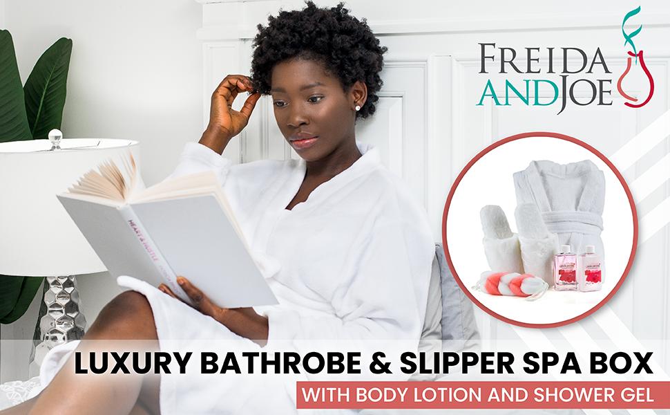 Bathrobe Gift Set, spa gift basket for her, holiday gift for her, spa slipper set, lotion gel gift