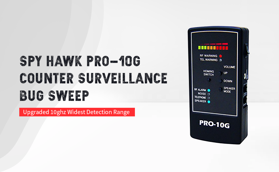 Spy-Hawk Security Products Pro-10G is The # 1 GPS Tracker Finder and Law-Grade Counter Surveillance Bug Sweep Newest Professional Handheld Detection of All Active GPS Trackers Mobile Phones
