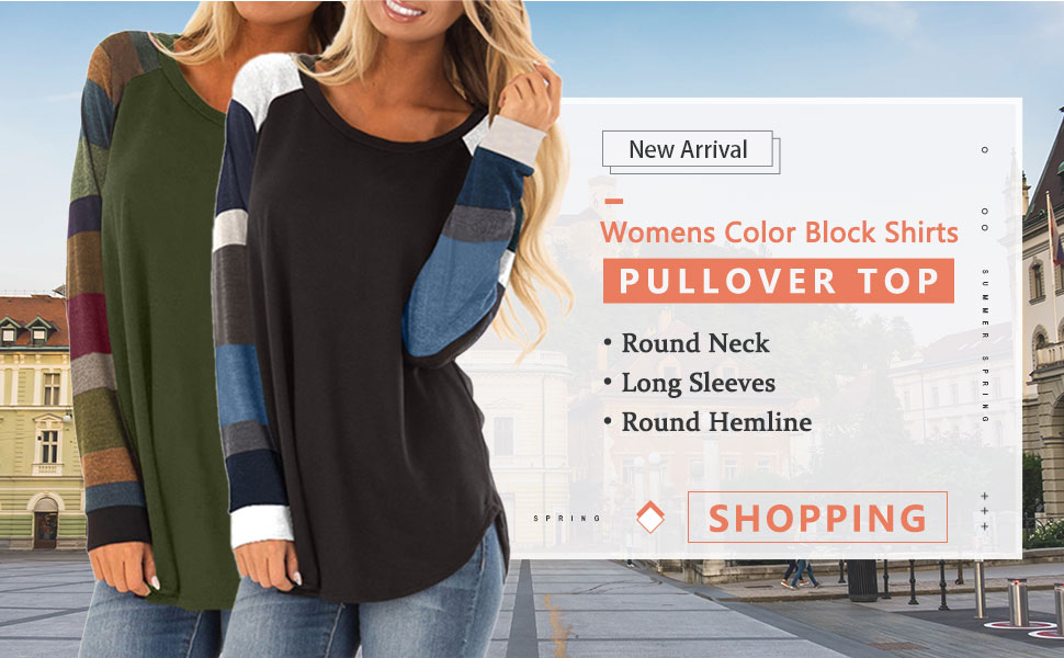 FEKOAFE Womens Casual Color Block Tunic Long Sleeve Tops