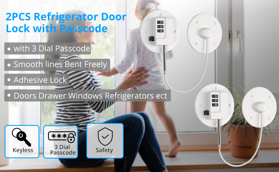 eSynic 2Pcs Fridge Lock Refrigerator Door Lock Multifunction Lock with Passcode Adhesive Lock Wire Lock Cable for Kid Safety Used on Cabinets Doors Drawer Windows Refrigerators ect