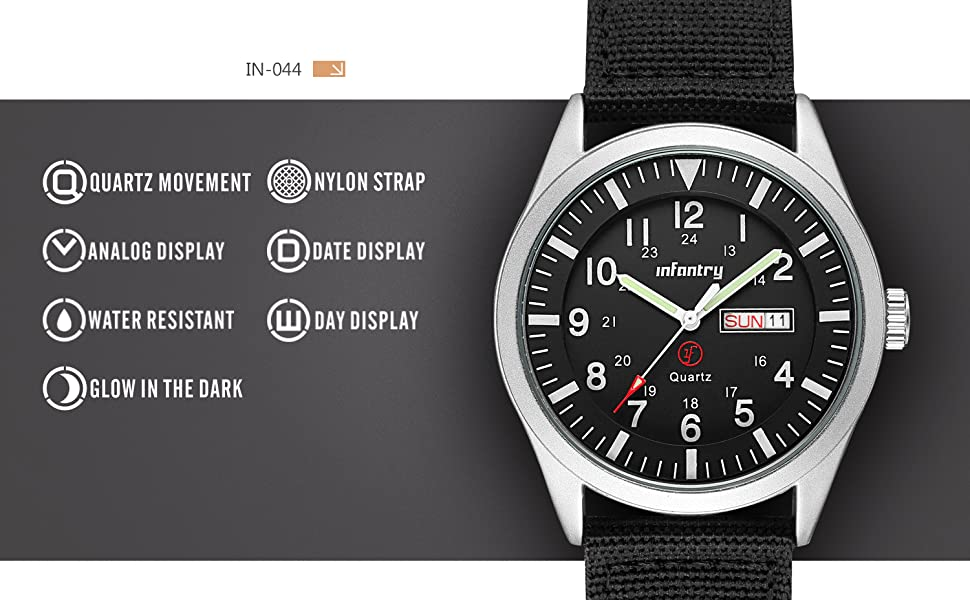 Infantry Mens Analog Military Watches for Men Waterproof Tactical Wrist Watch Outdoor Work Black