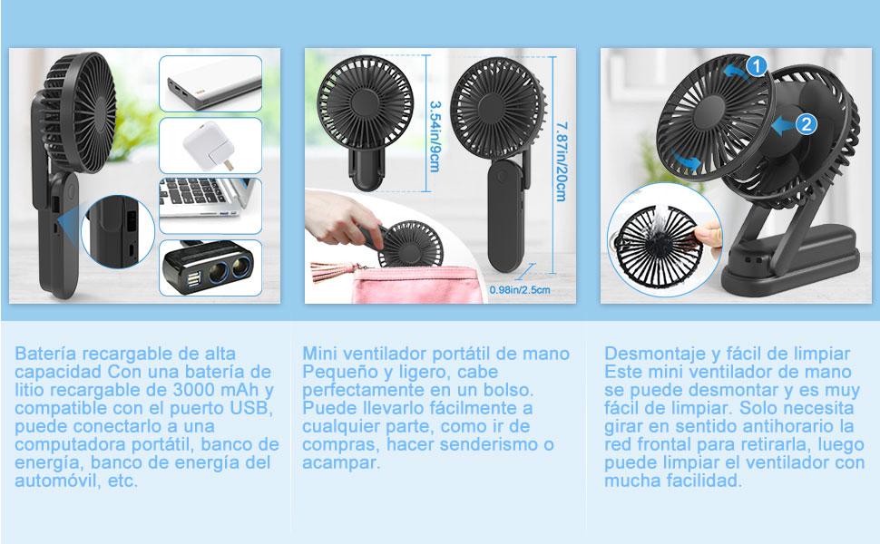 Gifort Ventiladores USB, Mini Ventilador de Mano Portátil Plegable ...