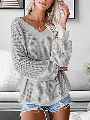 Long Sleeve Loose Fit Waffle Knit Tops