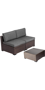 2 armless sofas amp; the coffee table