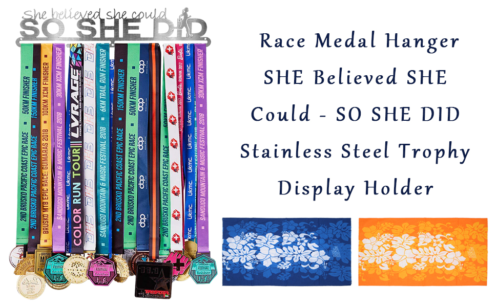 SO SHE DID Stainless Steel Trophy Display Holder 16 Inch with 2 pcs Magic Headband for Runner Gymnastics Soccer Winterworm Race Medal Hanger SHE Believed SHE Could