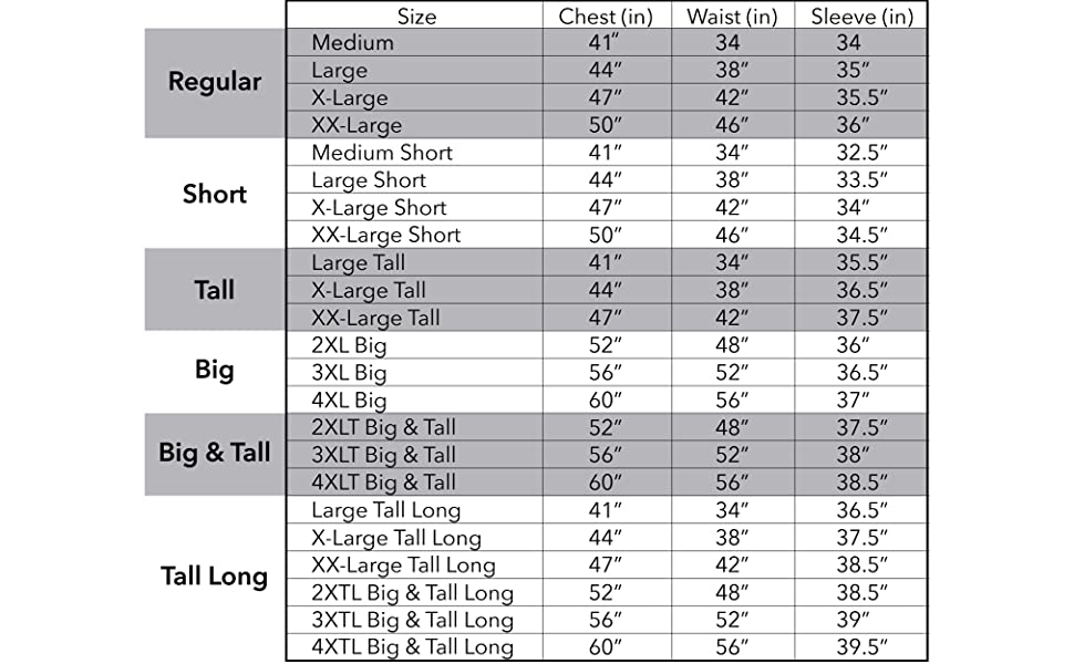 BGSD Men's Leather Blazer Size Chart