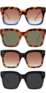 Women Square Oversized Sunglasses for Men Flat Top Fashion Shades