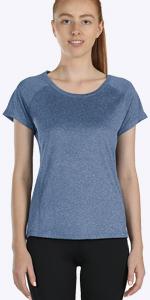 icyzone Damen Sport T-Shirt V-Ausschnitt Laufshirt Kurzarm Top Trainingsshirt Fitness Oberteile Sportbekleidung