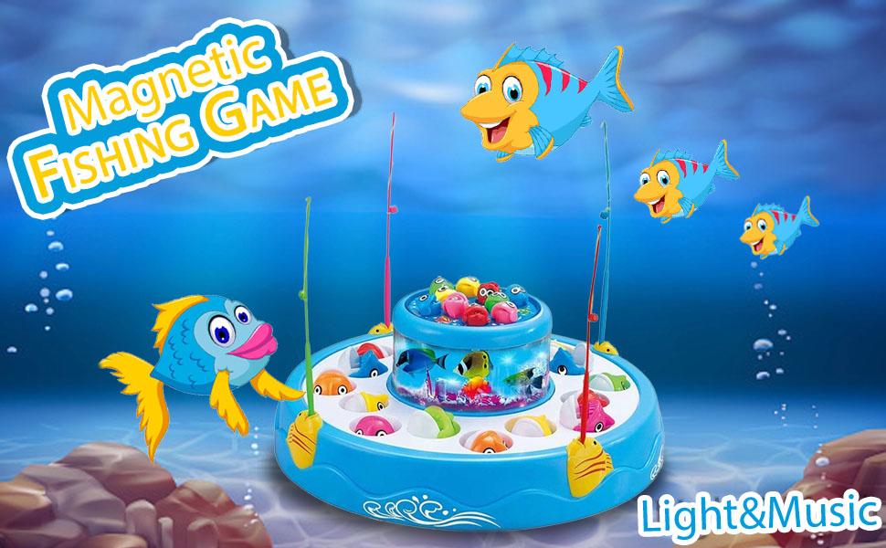 Magnetic Fishing Game Baby Babies Kids Kid Light & Music Fun Toy Toddler Girl Boy Kiddo Game Parent