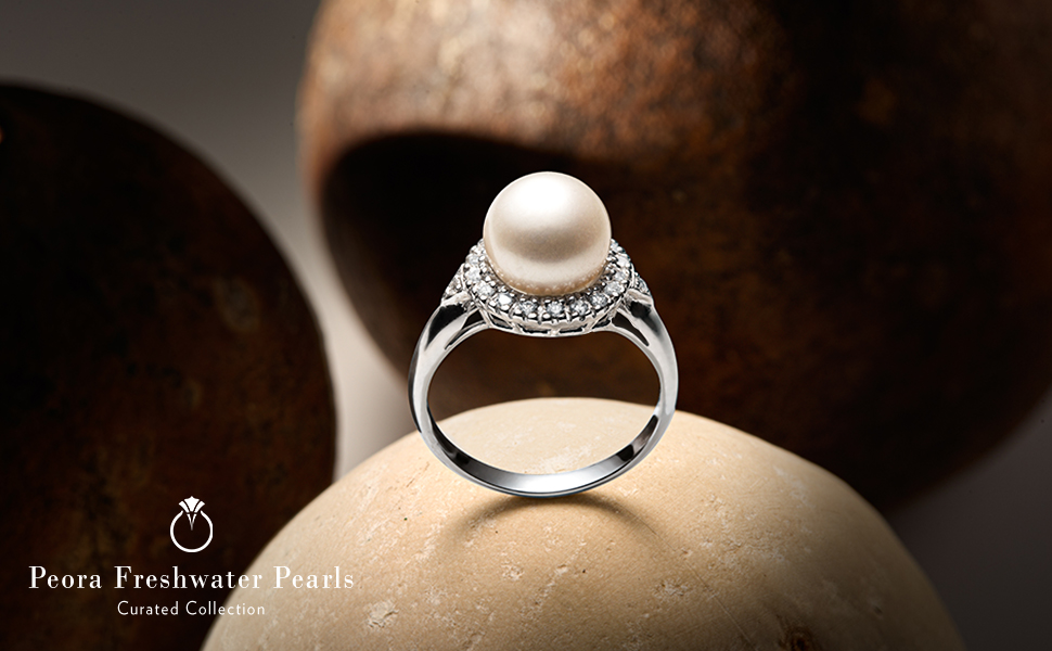peora pearl necklace pendant earrings stud rings jewelry women bridal white silver black gold