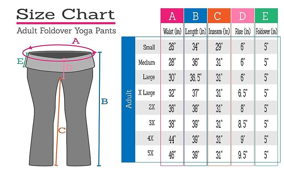 yoga size chart