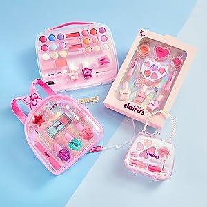 Claire's makeup sets collection, unique designs, colorful, cute, play makeup for little girls
