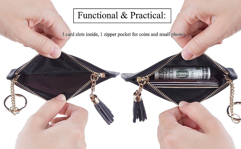 Fashion Womens Coin Purse White Hearts Curve Vintage Pouch Mini Purse Wallets