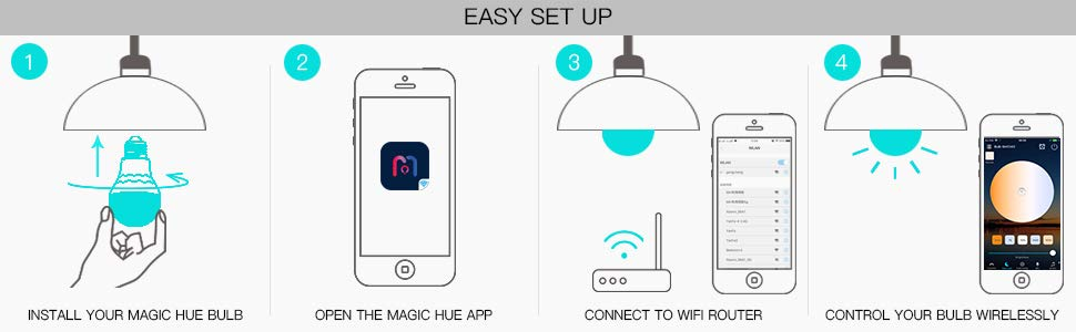 Magic Hue WiFi Smart LED Bulb No Hub Required A19 E27 50 Watt Equivalent Multicolored Novelty Lighting Compatible With Alexa Google Home And Siri