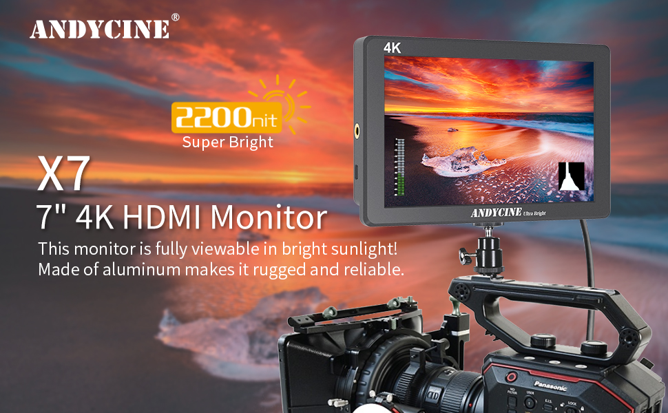 7 Inch 2200 nit Ultra-Bright 1920X1200p 3 Screw 1//4 Threads with 4K HDMI Input and Output Rugged CNC Aluminum Housing for DSLR Andycine X7 Camera Field Monitor