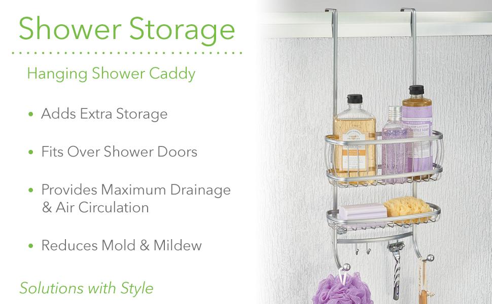 Metal Wire Over Shower Door Bathroom Hanging Storage Organizer Center Built-In Stall Tub  Body Wash