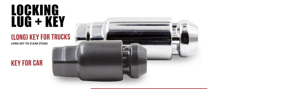 Wheel Lock Set, Locking Lug Nut with Key for Car and Truck, Chrome and Black Finish
