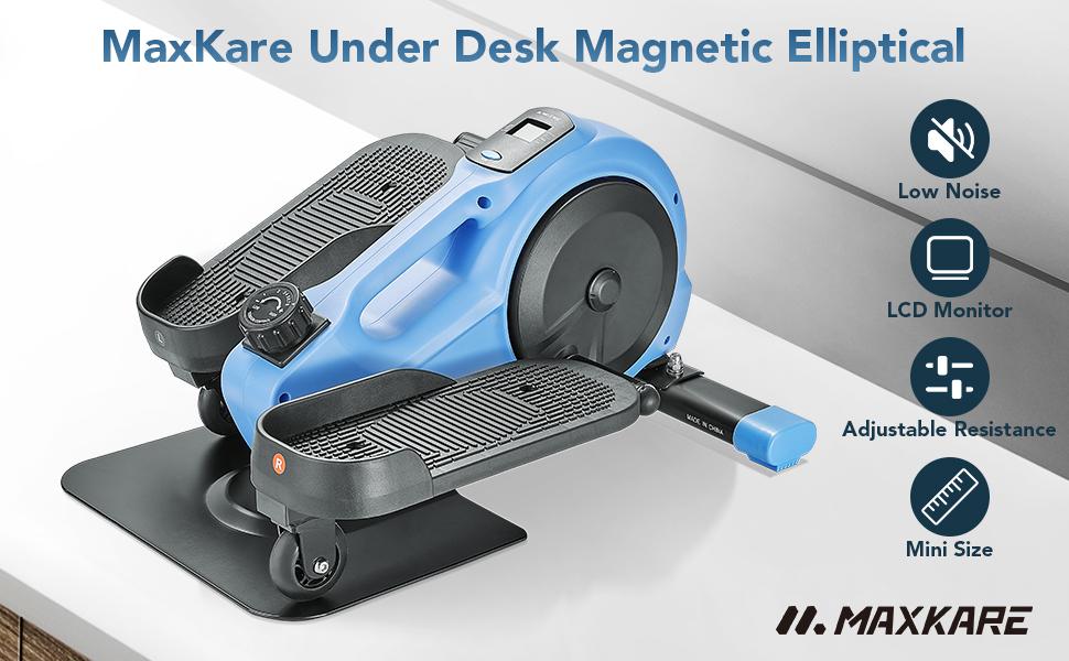 MaxKare Under Desk Magnetic Elliptical Trainer Portable with Adjustable Resistance & LCD Monitor