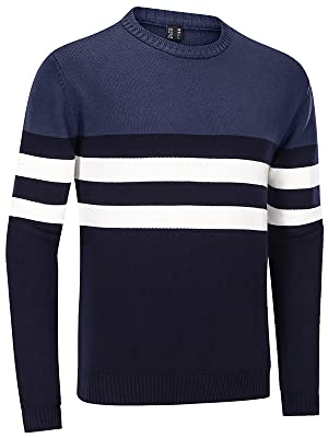 Men's Sweater Crewneck Warm Cotton Classic Pullover Striped Casual Slim Fit Winter Fall Knitted