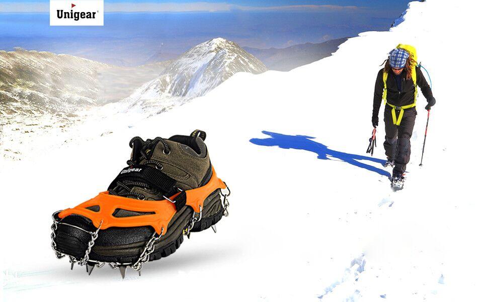 Hongma Schuhspikes Steigeisen f/ür Bergschuhe mit 10 Spikes Anti Rutsch f/ür High Altitude Wandern Bergsteigen MEHRWEG