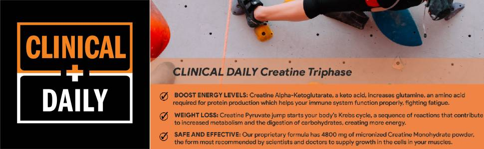 clinical daily creatine supplement banner with features and square logo