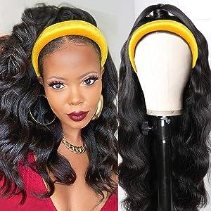 body wavy headband wig