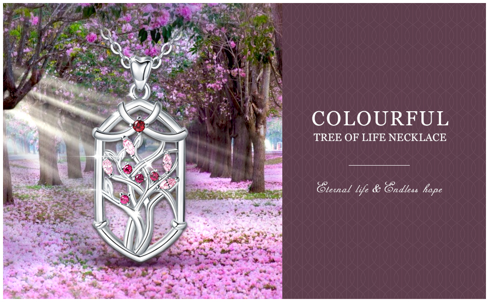 colourful tree of life necklace
