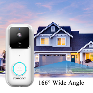 smart video doorbell camera with 166 degree wide angle