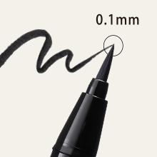POINT2:極細から太めラインまで自由自在  毛先0.1mmの極細毛でなめらかな描き心地。
