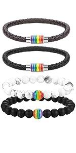 Cupimatch Bracelets Arc-en-Ciel Lesbienne Gai Fiert/é LGBT Couple Bracelet Tress/é en Cuir et Pierre pour Couple ou Le Parade et Festival de Lesbienne Gai Bisexuel Transgenres