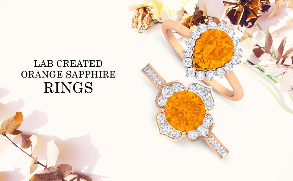 banner Lab Created Orange Sapphire Rings